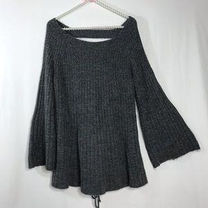 LC Lauren Conrad Gray Open Back Cozy Knit Sweater